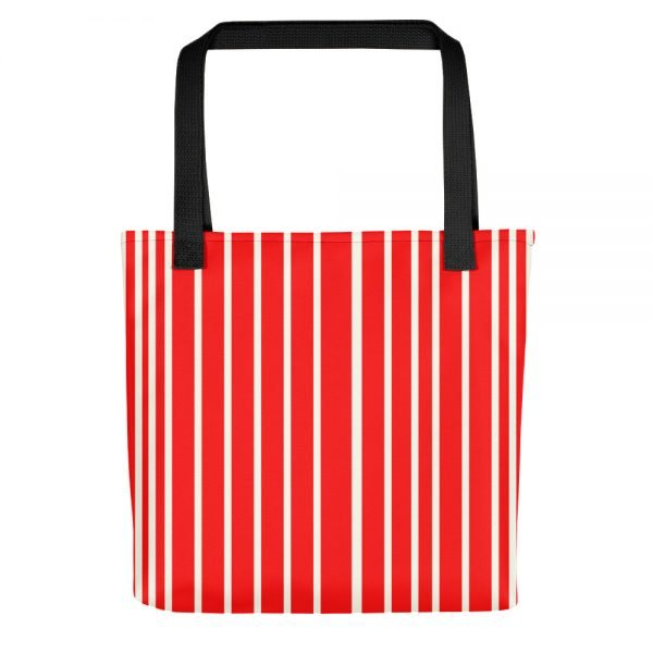 ONLY Red Off White Stripes Tote Bag | Xantiago
