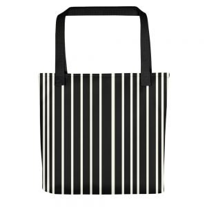 ONLY Black Off White Stripes Tote bag