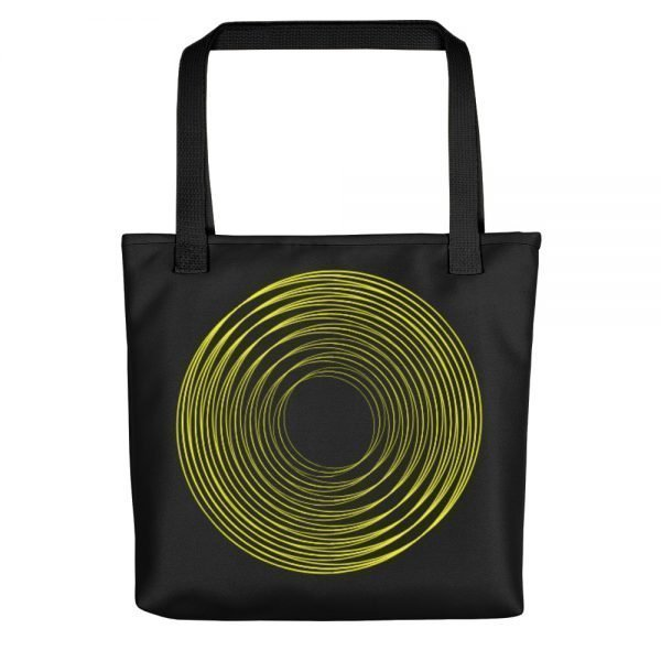 Black Tote Bag With a Yellow Ring | Xantiago Tote Bags