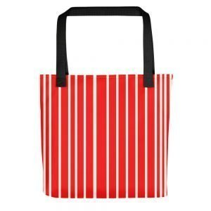 ONLY Red Off White Stripes Tote bag