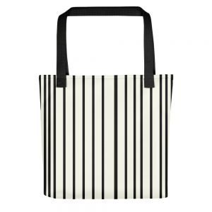 ONLY Off White Tote bag Black Stripes