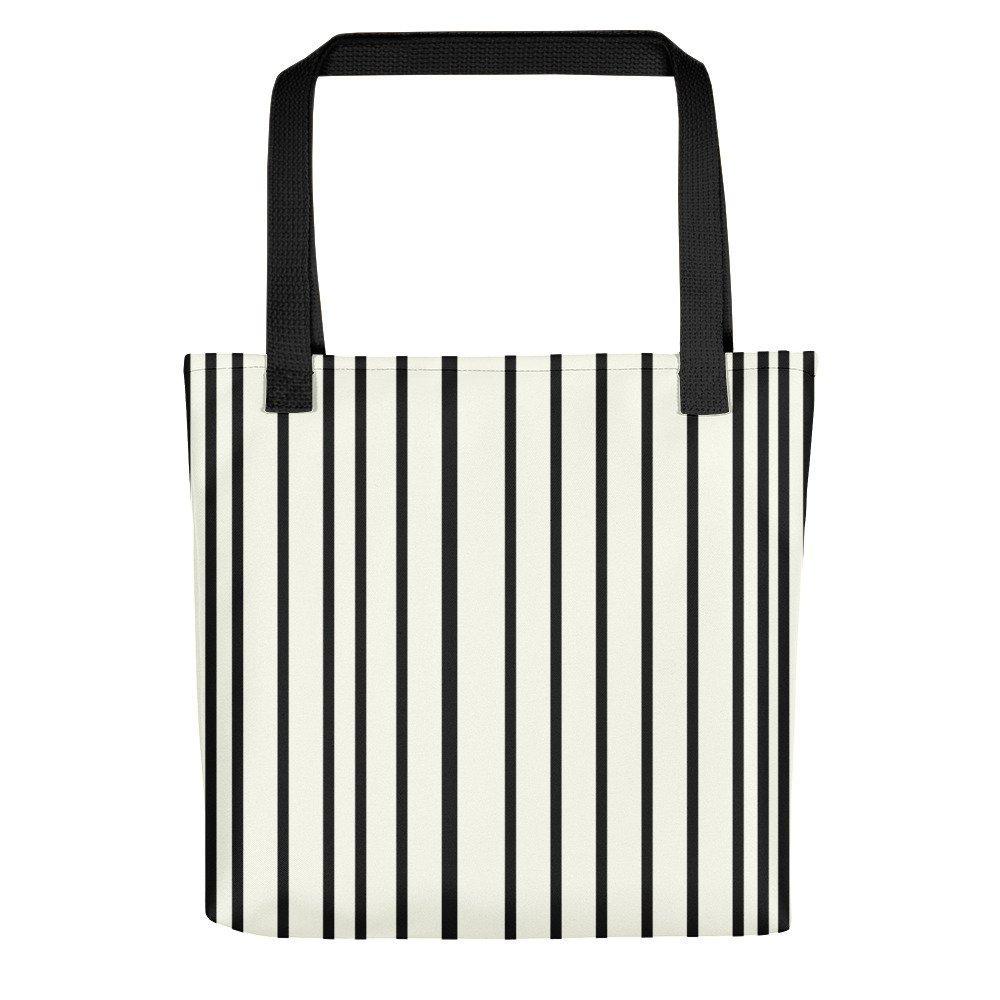 Only Off White Tote Bag Black Stripes