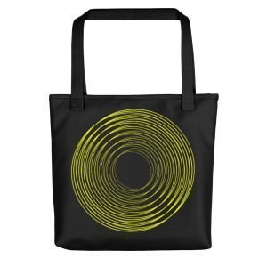 Black Tote Bag With a Yellow Ring