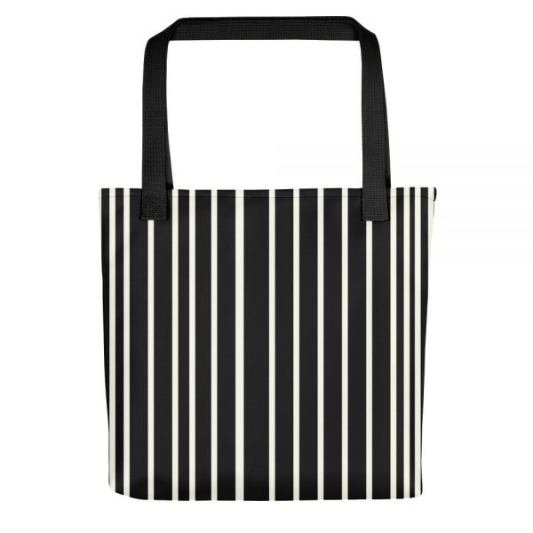 ONLY Black Off White Stripes Tote bag | Xantiao Tote Bags