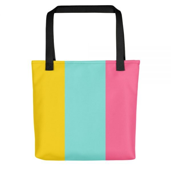 Tricolor Tote Bag | Pink, Cyan Yellow Totes | Xantiago